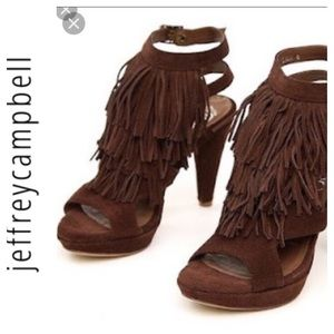 Jeffrey Campbell LALA brown Suede Fringed Heels. 8